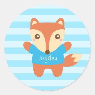 Cute little fox in blue, for Kids Round Sticker