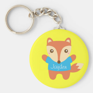 Cute Little Fox, Name, For Kids Basic Round Button Key Ring