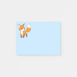 Cute Little Fox on Blue Post-it Notes