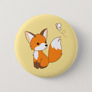 Cute Little Fox Watching Butterfly 6 Cm Round Badge