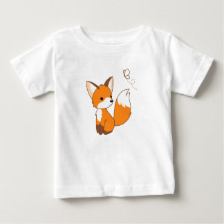 Cute Little Fox Watching Butterfly Baby T-Shirt