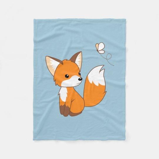 Cute Little Fox Watching Butterfly Fleece Blanket