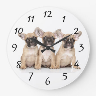 Cute little French Bulldogs Large Clock