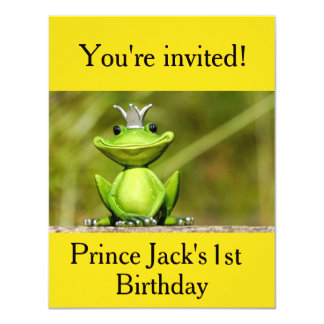 Cute little frog prince birthday invitations