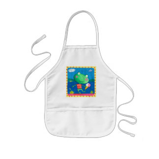 cute little frog with icecream kids' apron