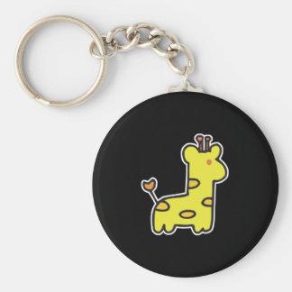 cute little giraffe basic round button key ring