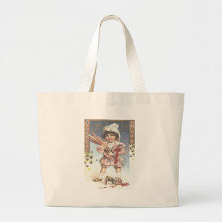 Cute Little Girl Bottle Rockets Fireworks Jumbo Tote Bag