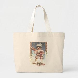 Cute Little Girl Bottle Rockets Fireworks Jumbo Tote Bag