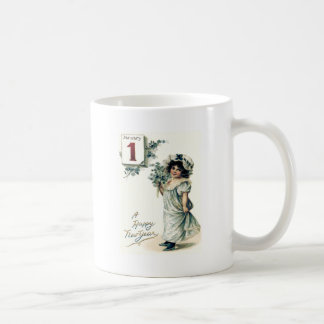 Cute Little Girl Calendar Forget-Me-Nots Basic White Mug