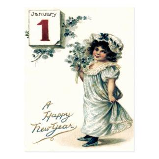 Cute Little Girl Calendar Forget-Me-Nots Postcard