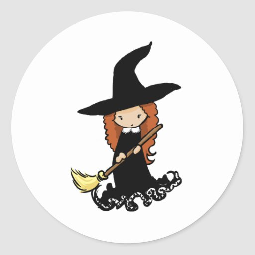 Cute Little Girl Child Witch Round Stickers