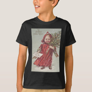 Cute Little Girl Christmas Tree Snow T-Shirt