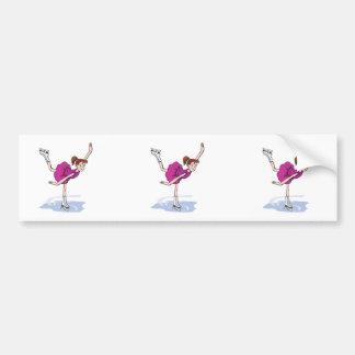 cute little girl figure skater spinning bumper sticker