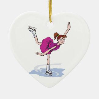 cute little girl figure skater spinning christmas ornament