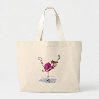 cute little girl figure skater spinning large tote bag