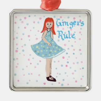 "Cute Little Girl ""Gingers Rule"" Ornament"