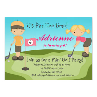 Cute Little Girl Golf Birthday Party Invitation