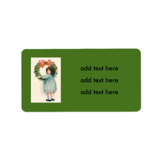 Cute Little Girl Holly Wreath Pink Bow Address Label