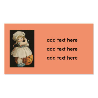 Cute Little Girl Jack O' Lantern Pumpkin Pack Of Standard Business Cards