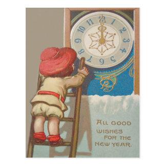 Cute Little Girl Ladder Clock Midnight Snow Postcard