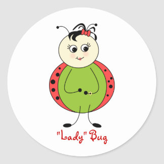 Cute Little Girl Ladybug With Bow Round Sticker