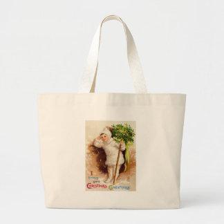Cute Little Girl Mistletoe Snow Jumbo Tote Bag