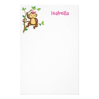 Cute Little Girl Monkey Stationery