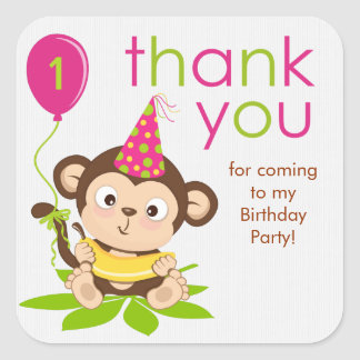 Cute Little Girl Monkey Thank You Sticker