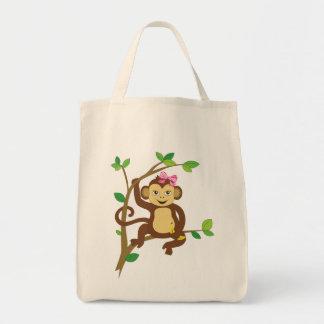 Cute Little Girl Monkey Grocery Tote Bag