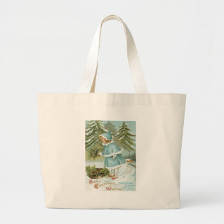 Cute Little Girl Picking Holly Snow Jumbo Tote Bag