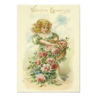 Cute Little Girl Pink Roses Wedding Invitation