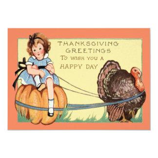 Cute Little Girl Riding A Pumpkin Turkey 13 Cm X 18 Cm Invitation Card