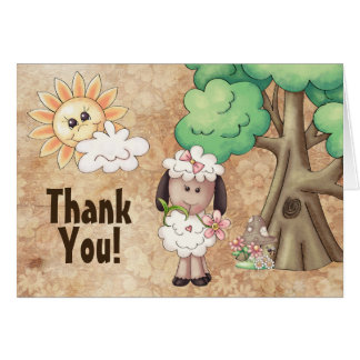Cute Little Girl Sheep and Flowers Thank You Note Card