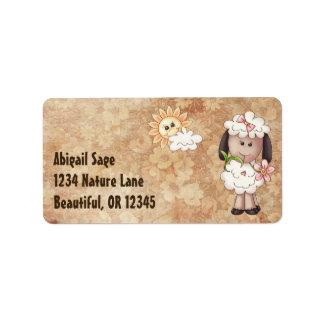 Cute Little Girl Sheep, Flowers and Sun Address Address Label