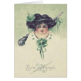 Cute Little Girl Shillelagh Green Greeting Card