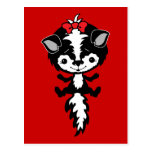 CUTE LITTLE GIRL SKUNK RED BOW BLACK WHITE CARTOON POSTCARD