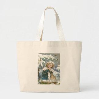 Cute Little Girl Snow Tree Church Jumbo Tote Bag