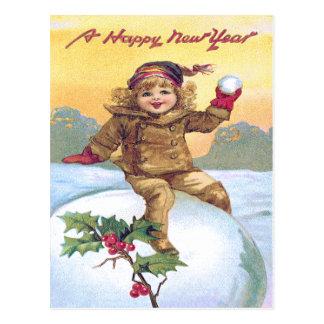 Cute Little Girl Snowball Holly Snow Postcard