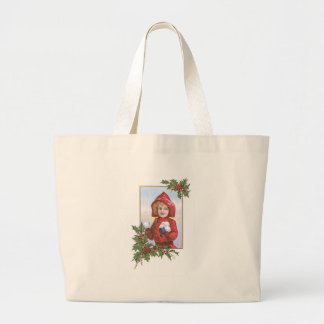 Cute Little Girl Snowballs Holly Jumbo Tote Bag