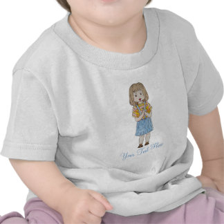 Cute little girl with brown hair and blue skirt tees