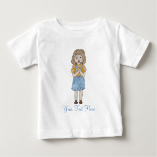 Cute little girl with brown hair and blue skirt tshirts