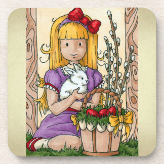 Cute Little Girl with Easter Bunny Beverage Coasters