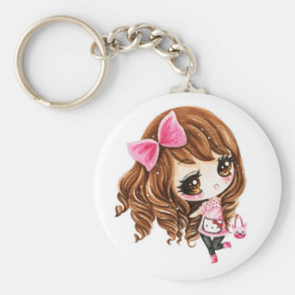 Cute little girl with pink big bow basic round button key ring