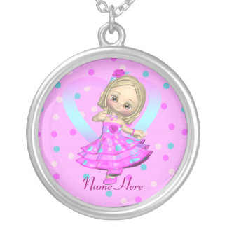 cute little girls silver necklace - party dress