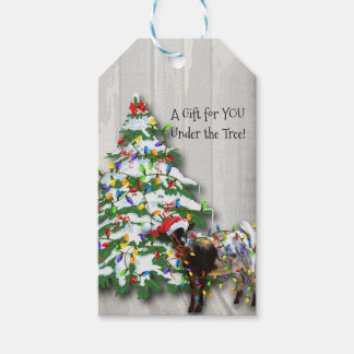 Cute Little Goat Decorated the Christmas Tree Gift Tags