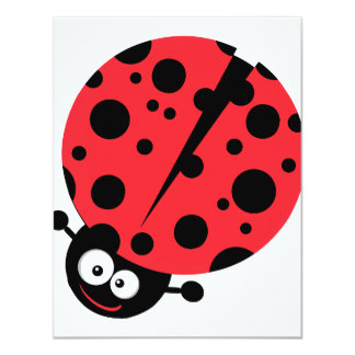 cute little goofy ladybug with lots of spots personalized invitations