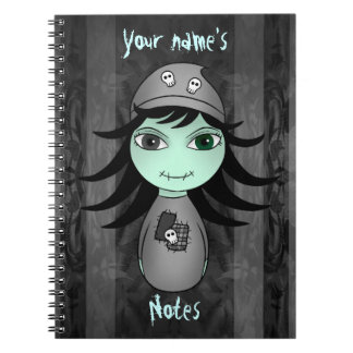 Cute little gothic zombie girl for Halloween Notebooks