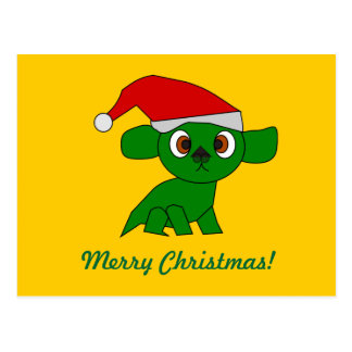 Cute little green Christmas Dragon Postcards