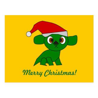 Cute little green Christmas Dragon Postcard
