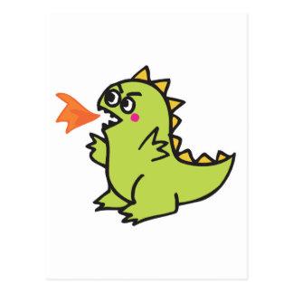 cute little green fire dragon monster post card